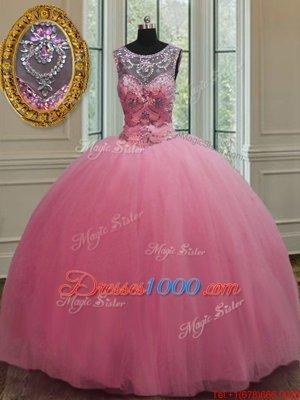Scoop Sleeveless Lace Up Floor Length Beading 15 Quinceanera Dress