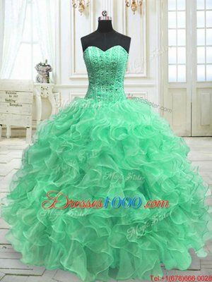Pretty Green Sleeveless Floor Length Beading and Ruffles Lace Up Sweet 16 Dresses