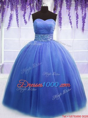 Fabulous Blue Ball Gowns Sweetheart Sleeveless Tulle Floor Length Lace Up Beading and Belt Quinceanera Dress