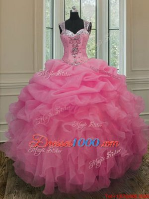 Custom Design Straps Straps Baby Pink Sleeveless Organza Zipper Quince Ball Gowns for Military Ball and Sweet 16 and Quinceanera