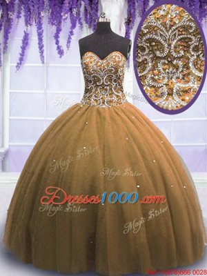 Sweetheart Sleeveless Quince Ball Gowns Floor Length Beading Brown Tulle