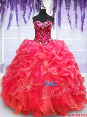 Dynamic Red Ball Gowns Organza Sweetheart Sleeveless Beading and Appliques and Ruffled Layers Floor Length Lace Up Sweet 16 Dresses