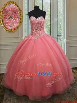 High Class Watermelon Red Sleeveless Organza Lace Up Vestidos de Quinceanera for Military Ball and Sweet 16 and Quinceanera