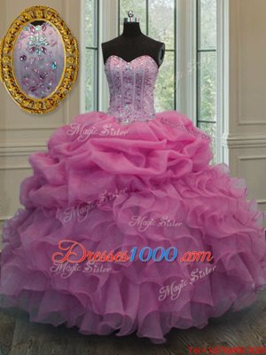 Cute Organza Sweetheart Sleeveless Lace Up Beading and Ruffles Vestidos de Quinceanera in Lavender