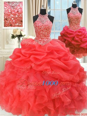 Three Piece Red Organza Lace Up Sweet 16 Dress Sleeveless Floor Length Beading and Pick Ups