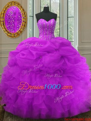 Fashionable Lilac Sleeveless Floor Length Beading and Ruching and Bowknot Lace Up 15 Quinceanera Dress