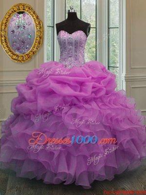 Stylish Sweetheart Sleeveless Organza Sweet 16 Dresses Beading and Ruffles and Pick Ups Lace Up