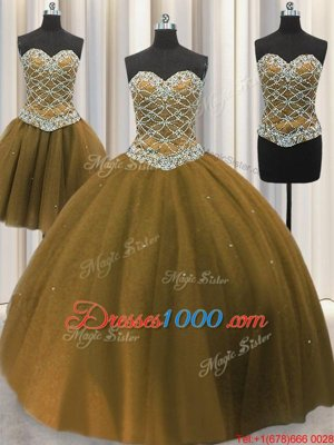 Three Piece Brown Ball Gowns Tulle Sweetheart Sleeveless Beading and Sequins Floor Length Lace Up Sweet 16 Quinceanera Dress