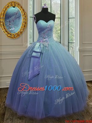 Blue Lace Up Sweet 16 Quinceanera Dress Beading and Ruching Sleeveless Floor Length