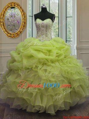 Yellow Green Sleeveless Beading and Pick Ups Floor Length Vestidos de Quinceanera