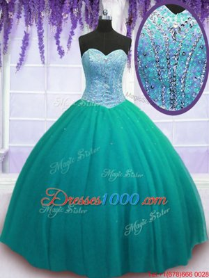 Purple Tulle Lace Up Sweetheart Sleeveless Floor Length Sweet 16 Dresses Beading and Sequins