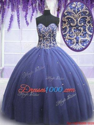 Pretty Purple Tulle Lace Up Sweet 16 Dress Sleeveless Floor Length Beading