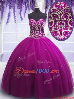 Lilac Tulle Lace Up Sweetheart Sleeveless Floor Length Ball Gown Prom Dress Beading