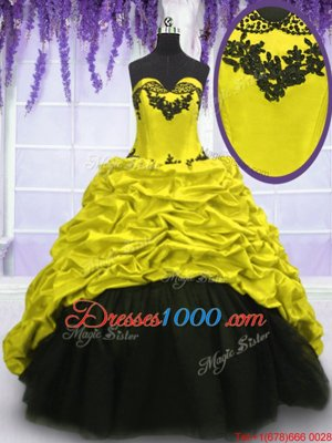 Fancy Taffeta Sleeveless With Train Vestidos de Quinceanera Sweep Train and Appliques and Pick Ups