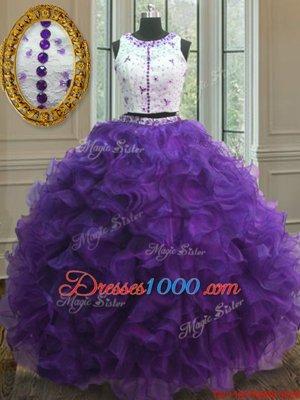 Dazzling Scoop Purple Organza Clasp Handle Vestidos de Quinceanera Sleeveless Floor Length Appliques