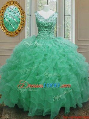 Apple Green Sleeveless Floor Length Beading and Ruffles Zipper Ball Gown Prom Dress