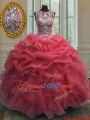 Scoop Coral Red Ball Gowns Beading and Ruffles and Pick Ups 15 Quinceanera Dress Lace Up Organza Sleeveless Floor Length