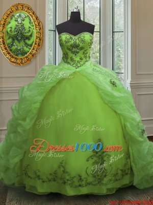 Sleeveless Court Train Beading and Appliques and Pick Ups Lace Up Ball Gown Prom Dress