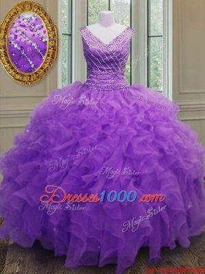 Purple V-neck Zipper Beading and Ruffles Sweet 16 Dresses Sleeveless