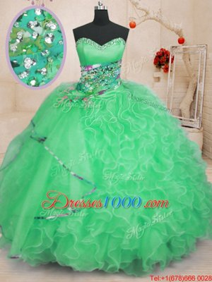 Apple Green Sleeveless Floor Length Beading and Ruffles Lace Up Vestidos de Quinceanera