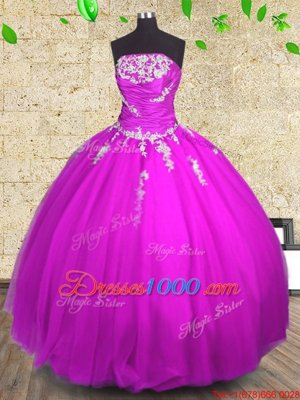 Sleeveless Tulle Floor Length Lace Up Quinceanera Gown in Fuchsia for with Appliques and Ruching