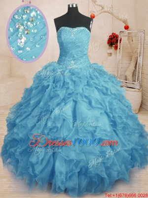Sumptuous Sweetheart Sleeveless Lace Up Vestidos de Quinceanera Baby Blue Organza
