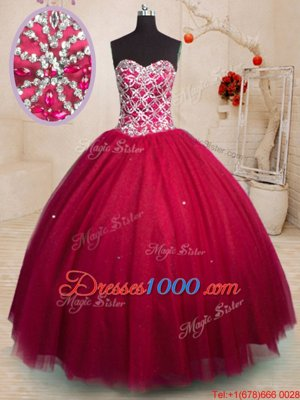 Red Ball Gowns Sweetheart Sleeveless Tulle Floor Length Lace Up Beading Ball Gown Prom Dress