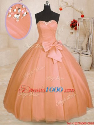 Fashionable Orange Sweetheart Lace Up Beading and Bowknot Quince Ball Gowns Sleeveless