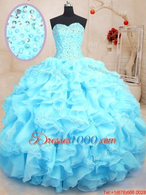 Baby Blue Lace Up Sweetheart Beading and Ruffles Ball Gown Prom Dress Organza Sleeveless