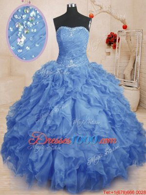 Adorable Blue Strapless Lace Up Beading and Ruffles and Ruching Vestidos de Quinceanera Sleeveless