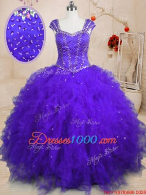 Best Floor Length Purple Sweet 16 Dress Tulle Cap Sleeves Beading and Ruffles and Sequins