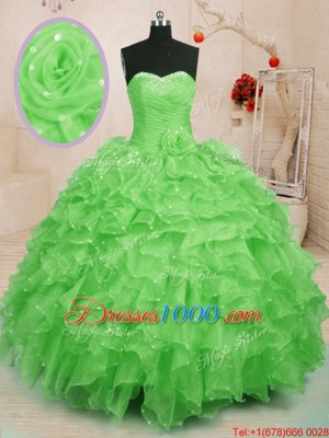 Sleeveless Beading and Ruffles and Hand Made Flower Floor Length Sweet 16 Quinceanera Dress
