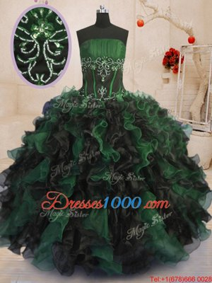 Fine Floor Length Multi-color Sweet 16 Dress Strapless Sleeveless Lace Up