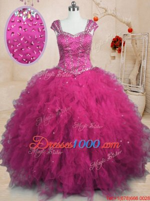 Graceful Fuchsia Square Lace Up Beading and Ruffles Quinceanera Gowns Cap Sleeves