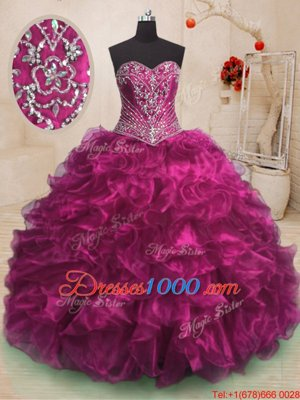 Trendy Watermelon Red Ball Gowns Organza Sweetheart Sleeveless Beading and Ruffles Floor Length Lace Up Quinceanera Dress