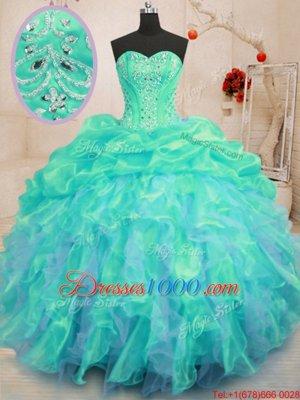 Flirting Sweetheart Sleeveless Organza Ball Gown Prom Dress Beading and Ruffles Lace Up