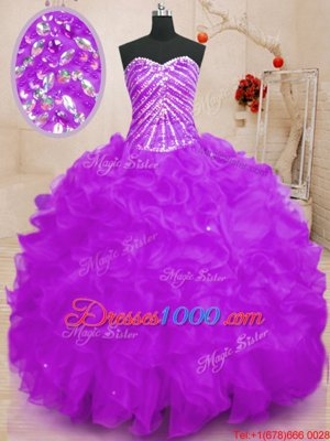 High Quality Sequins Purple Sleeveless Organza Lace Up Sweet 16 Dress for Sweet 16 and Quinceanera