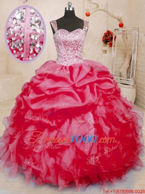 Fashionable Sleeveless Lace Up Floor Length Beading and Ruffles and Pick Ups Vestidos de Quinceanera