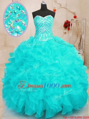Shining Organza Sleeveless Floor Length Sweet 16 Dress and Beading and Ruffles and Sequins