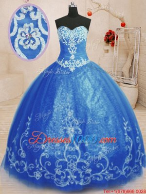 Sleeveless Tulle Floor Length Lace Up Quinceanera Gowns in Blue for with Beading and Appliques