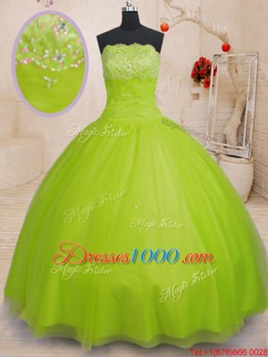 Floor Length Yellow Green Quinceanera Gown Tulle Sleeveless Beading