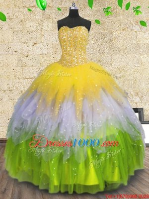Gorgeous Multi-color Sleeveless Floor Length Beading and Ruffles and Sequins Lace Up Ball Gown Prom Dress