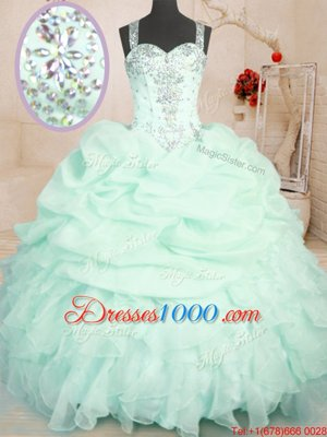 Sleeveless Floor Length Beading and Ruffles and Pick Ups Zipper Ball Gown Prom Dress with Apple Green