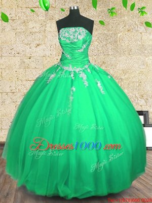 Customized Green Tulle Lace Up Sweet 16 Dresses Sleeveless Floor Length Embroidery and Ruching