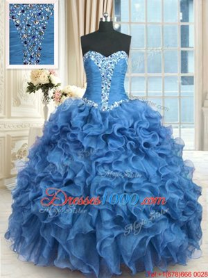 High End Floor Length Lace Up Quinceanera Gown Baby Blue and In for Military Ball and Sweet 16 and Quinceanera with Beading and Ruffles