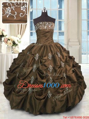 Chocolate Ball Gowns Beading and Appliques and Embroidery and Pick Ups Quinceanera Dress Lace Up Taffeta Sleeveless Floor Length