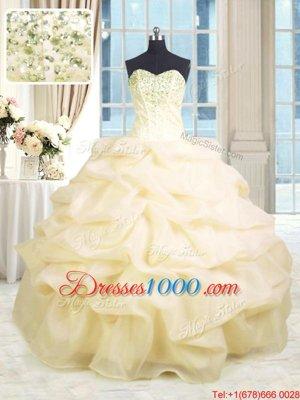 Cheap Sweetheart Sleeveless Sweet 16 Dresses Floor Length Beading and Ruffles Champagne Organza