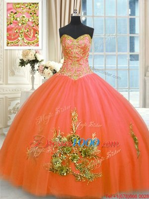 Floor Length Orange Red Sweet 16 Dresses Tulle Sleeveless Beading and Appliques and Embroidery
