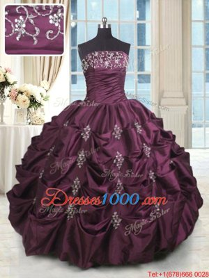 Modest Sleeveless Lace Up Floor Length Beading and Appliques and Embroidery and Pick Ups Sweet 16 Quinceanera Dress
