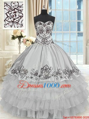 Ruffled Floor Length Grey Quinceanera Gown Halter Top Sleeveless Lace Up